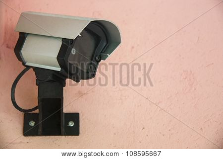 Security cam fixed on wall