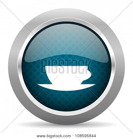 espresso blue silver chrome border icon on white background