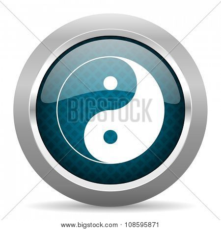 ying yang blue silver chrome border icon on white background