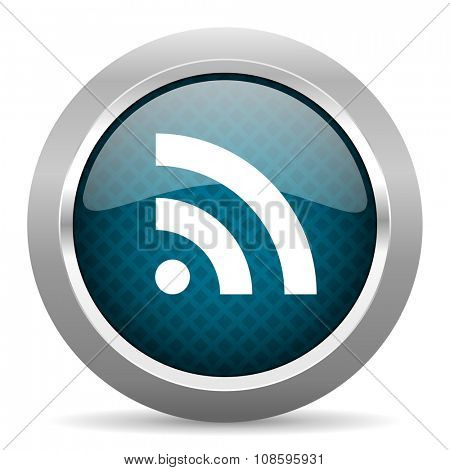 rss blue silver chrome border icon on white background