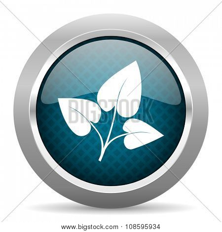 leaf blue silver chrome border icon on white background