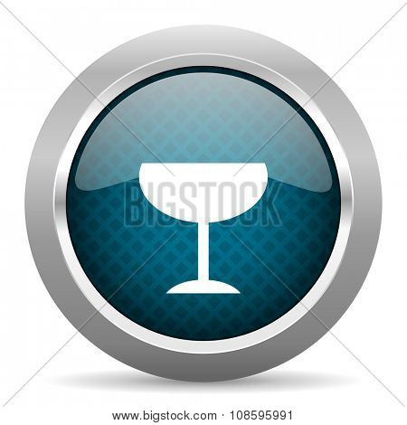 alcohol  blue silver chrome border icon on white background