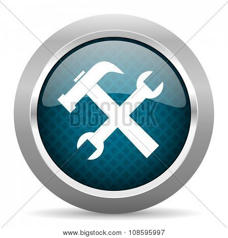tool blue silver chrome border icon on white background