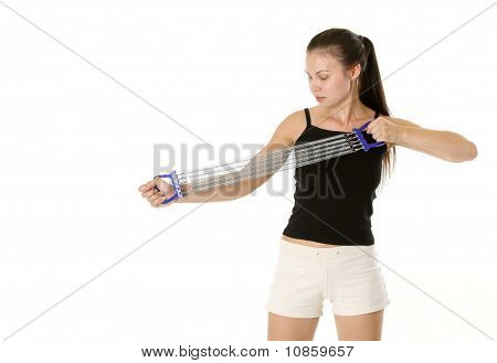 Fitness Girl With Chest Expander
