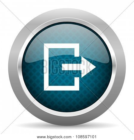 exit blue silver chrome border icon on white background