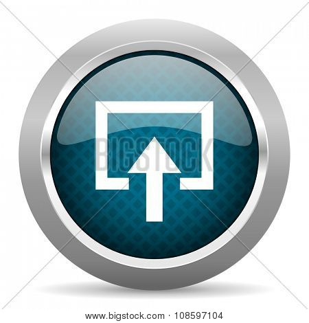 enter blue silver chrome border icon on white background