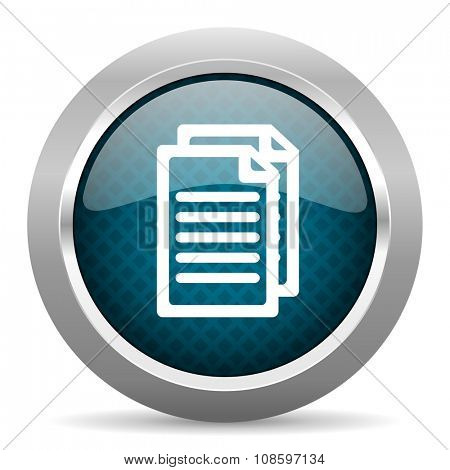 document blue silver chrome border icon on white background