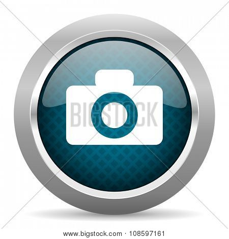 camera blue silver chrome border icon on white background