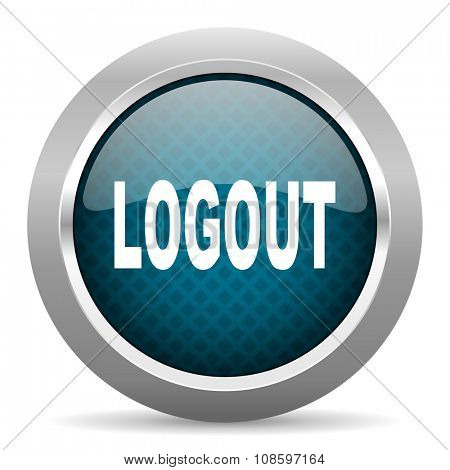 logout blue silver chrome border icon on white background