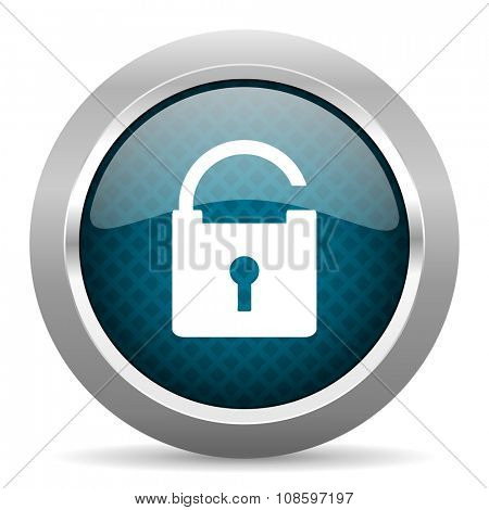 padlock blue silver chrome border icon on white background