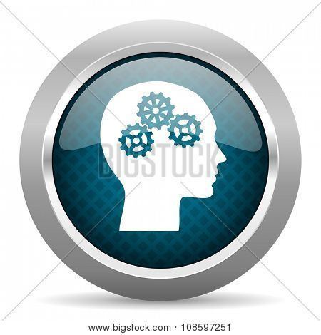 head blue silver chrome border icon on white background