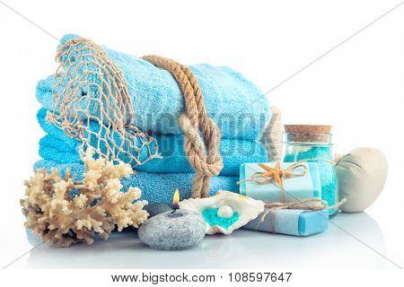 Spa treatments isolated on white. Sea spa concept