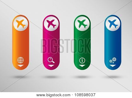 Airplane  On Vertical Infographic Design Template, Can Be Used For Workflow Layout, Web Design.