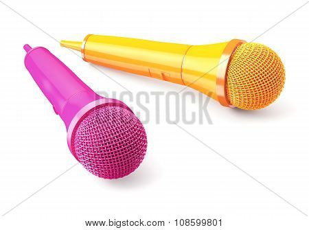 Pink And Yellow Microphones On Blue Background