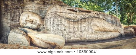 The Gal Vihara in the world heritage city Polonnaruwa, Sri Lanka. Panorama