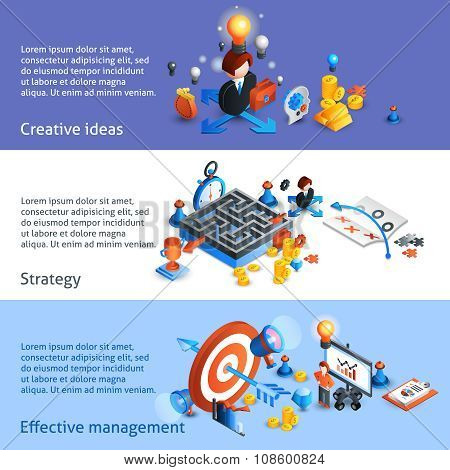 Business Strategy Isometric Banner