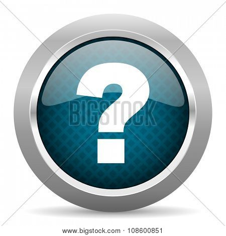 question mark blue silver chrome border icon on white background