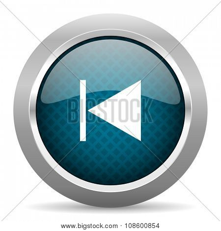 prev blue silver chrome border icon on white background