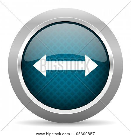 arrow blue silver chrome border icon on white background