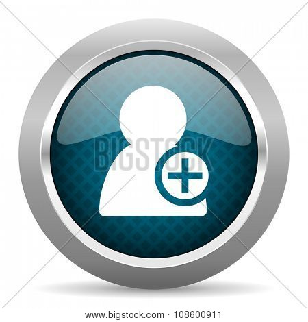 add contact blue silver chrome border icon on white background