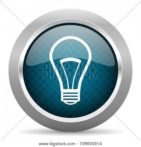bulb blue silver chrome border icon on white background
