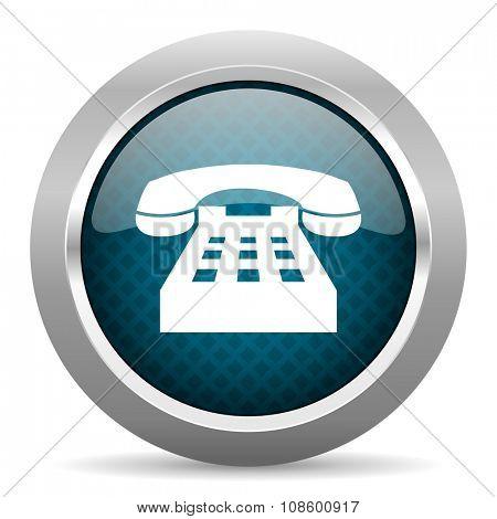 phone blue silver chrome border icon on white background
