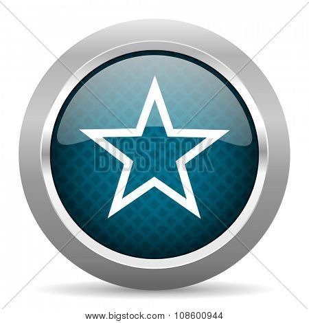 star blue silver chrome border icon on white background