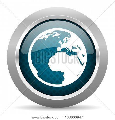 earth blue silver chrome border icon on white background