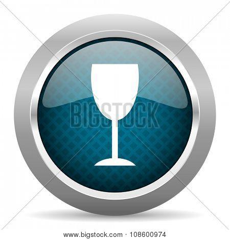 alcohol  blue silver chrome border icon on white background