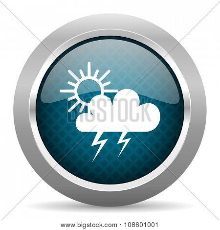 storm blue silver chrome border icon on white background
