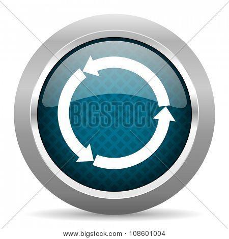 refresh blue silver chrome border icon on white background