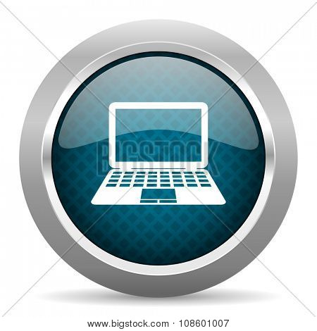computer blue silver chrome border icon on white background