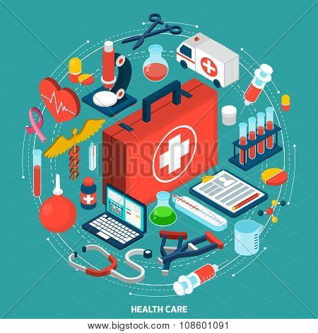 Healthcare concept isometric icon