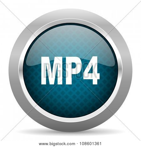 mp4 blue silver chrome border icon on white background