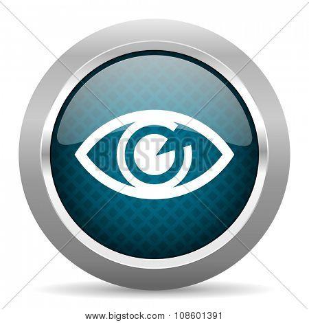 eye blue silver chrome border icon on white background