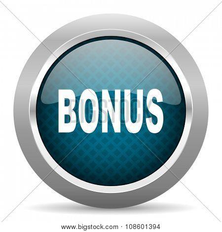 bonus blue silver chrome border icon on white background