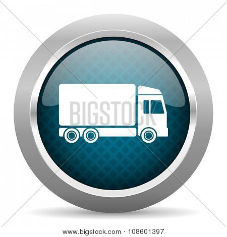 delivery blue silver chrome border icon on white background