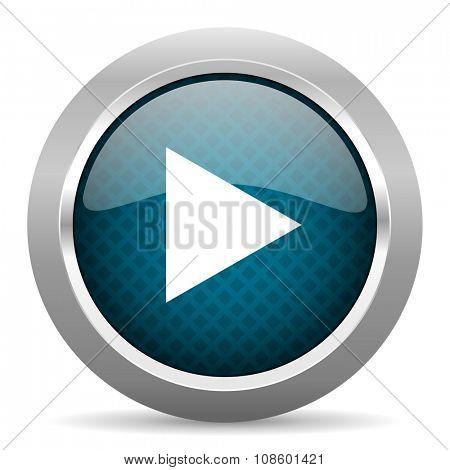 play blue silver chrome border icon on white background