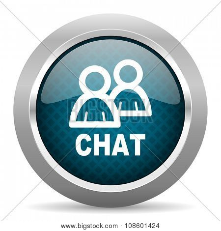 chat blue silver chrome border icon on white background