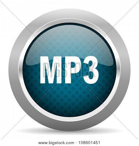 mp3 blue silver chrome border icon on white background