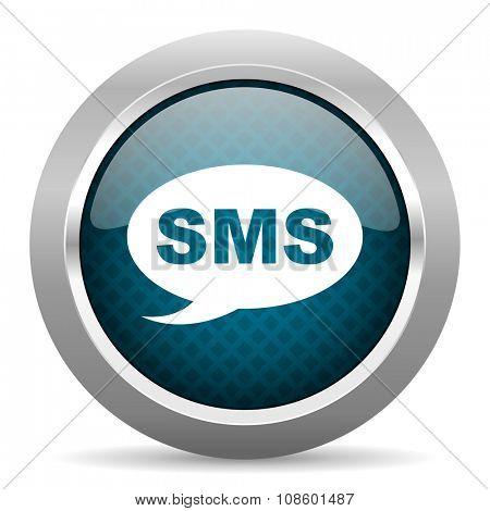 sms blue silver chrome border icon on white background