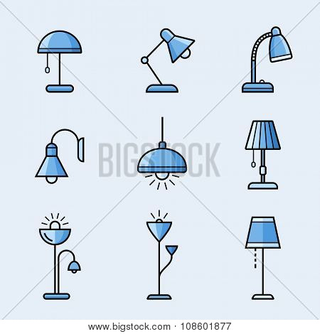 Light fixtures icon set. Lamps, chandeliers and other lighting devices. Material design style