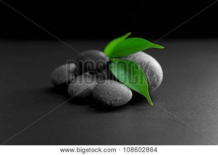 Pebbles with leaf on black background