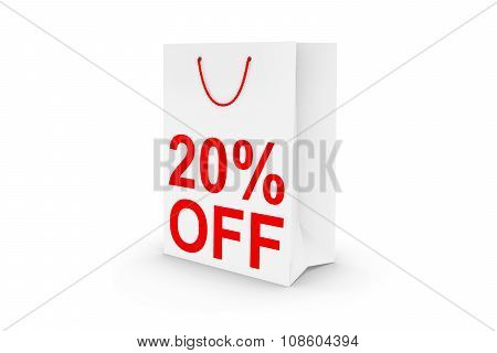 Twenty Percent Off Sale - White 20% Off Paper Shopping Bag Isolated On White