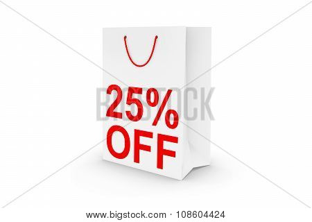 Twenty Five Percent Off Sale - White 25% Off Paper Shopping Bag Isolated On White