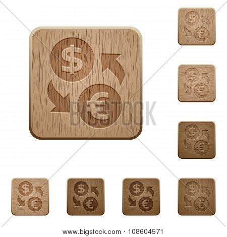 Money Exchange Wooden Buttons