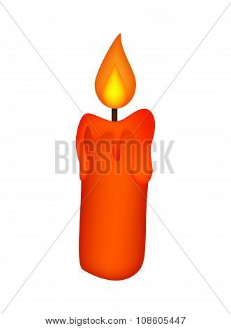 Christmas Candle, Burning Wax Candle Icon, Symbol, Design. Winter Vector Illustration Isolated On Wh