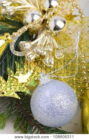Festive Golden Christmas Decoration, Candles, White Balls, Green Fir Tree Branch, Close Up