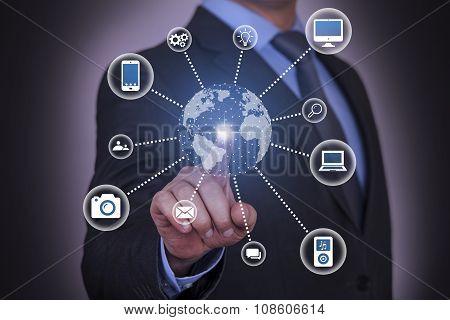 Global Modern Communication Concept on Visual Screen