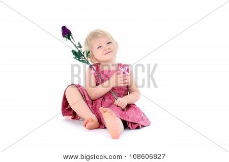 Adorable Girl 1  Year Old With Toy Flower On White Background